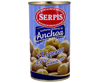 SERPIS Aceitunas rellenas de anchoa ligeras lata 150 g neto escurrido