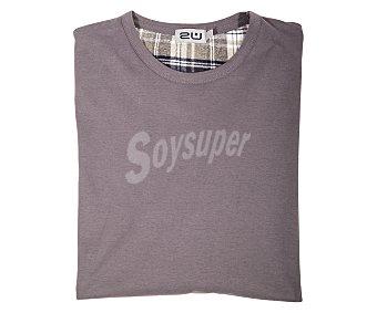 2U Pijama con camiseta de manga larga y pantalón largo de franela color gris, talla XL