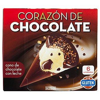 Hacendado Helado cono corazon chocolate vainilla base de chocolate Pack 6 x 130 ml