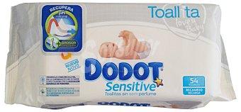 Dodot Sensitive Toallitas húmedas Sensitive bebe sin perfume Paquete 54 u