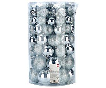 Actuel Set de 82 bolas de diferentes tamaños, con diseño brillante y de purpurina color plata, ACTUEL.