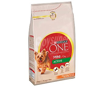 Purina One Pienso para perros adultos mini One My dog is Active pollo 1,5 Kg