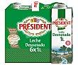 Leche desnatada Pack 6 brik x 1 l Président