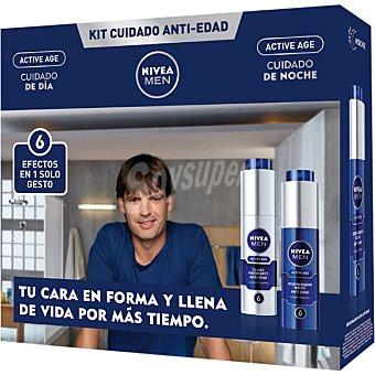 NIVEA FOR MEN Pack Active Age cuidado anti-edad con cuidado de día + cuidado de noche frasco 50 ml frasco 50 ml