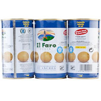 El Faro Aceitunas rellenas de anchoa Pack 3x150 g