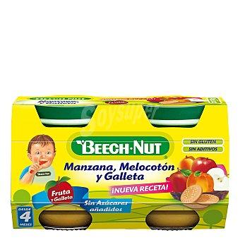 Beech-Nut Tarrito de manzana, melocotón y galleta Pack 2x130 g
