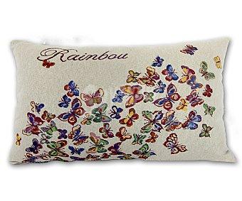 Auchan Cojín de tejido jacquard con estampado de mariposas y cierre de cremallera, 30x50 centímetros 1 unidad