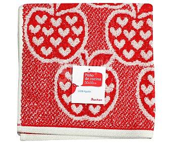 AUCHAN Paño de rizo estambado, color rojo, 50x50 centímetros 1 Unidad