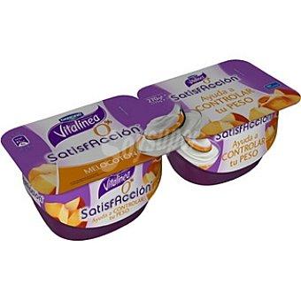 Vitalinea Danone yogur desnatado con melocotón Satisfaccion pack 2 unidades 135 g