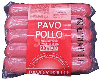 Hacendado Salchicha frankfurt tipo viena pavo/pollo 2 packs de 200 g