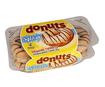 Donuts Rosquillas de azúcar con recubrimiento de azúcar y rayas de chocolate 4 unidades