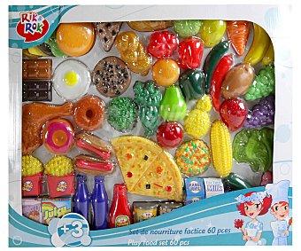 Rik&Rok Auchan Conjunto de 60 Alimentos hechos en plástico, motiva el juego simbólico 1 Unidad