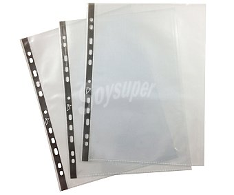 Auchan Fundas de polipropileno transparentes de tamaño DIN A4, lomo reforzado y 11 taladros 50 unidades