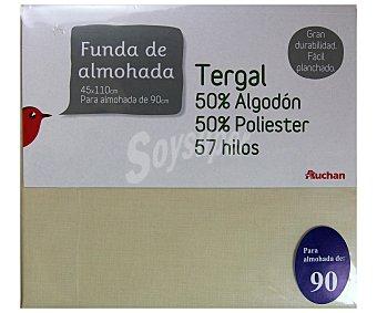 Auchan Funda de almohada color tierra, 90 centímetros 1 Unidad