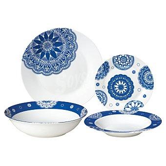 Casactual Estrella Vajilla de 19 piezas para 6 servicios en color blanco con dibujos en color azul