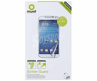 MUVIT Set 2 de protectores de pantalla para Galaxy S4 Antihuellas, (teléfono no incluido)