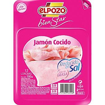 ElPozo Jamón cocido reducido en sal Bienestar Envase 200 g