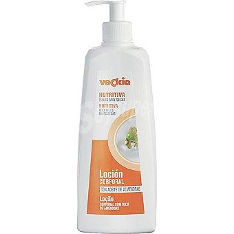 Veckia Loción corporal nutritiva con aceite de almendras para pieles muy secas Dosificador 400 ml