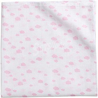DOMBI Multiuso Muselina con dibujo de nubes rosa
