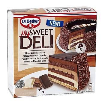 My Sweet Deli Dr. Oetker Pastel de chocolate (negro, blanco y con leche), relleno de mousse de chocolate Caja 600 g