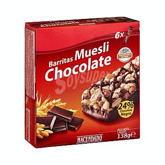 Hacendado Barrita cereales muesli chocolate Caja 138 g