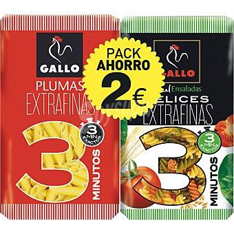 GALLO Plumas extrafinas + hélices con vegetales pack 2 envase 800 g