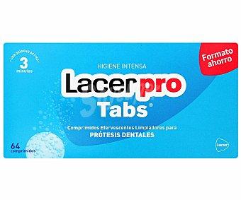 Lacer Tabletas efervescentes limpiadores para prótesis dentales 64 Comprimidos