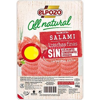 ELPOZO ALL NATURAL Salami artesano extra en lonchas finas sin gluten Envase 90 g