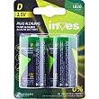 Pilas alcalinas 1,5 voltios LR20 Blister 2 unidades Inves