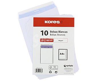 Kores Paquete de 10 sobres de tamaño 260 x 360 mm, peso de /m² y de color blanco kores 100 g