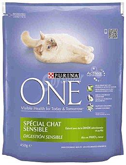 One Purina Purina ONE Gato Digestión Sensible rico en Pavo y Arroz 450g 450g