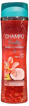 DELIPLUS Champú cabello normal exotic con filtro UV (protege el cabello de las agresiones del sol) Botella de 400 ml