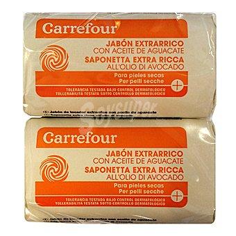 Carrefour Jabón de manos extrarrico con aceite de aguacate para pieles secas 4 unidades de 100 g