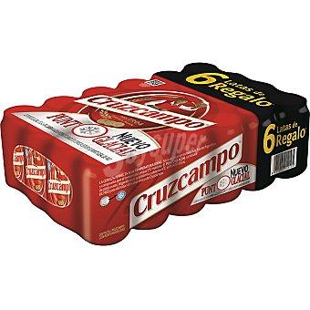 CRUZCAMPO cerveza rubia nacional + 6 gratis pack 18+6 latas 33 cl