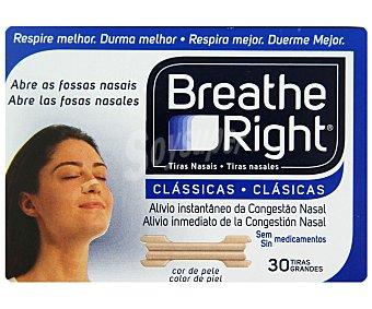 Breathe Right Tiras nasales alivio instantaneo para la congestión nasal , 30 Unidades grandes