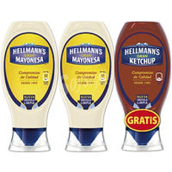 Hellmans 2 Mayonesas + Kechup Pack 3 unid