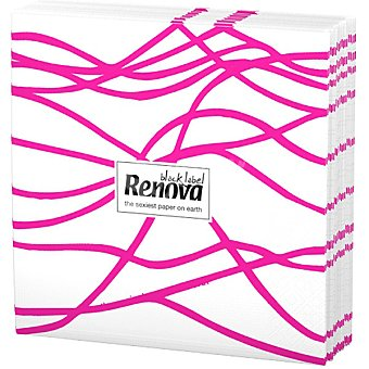 Renova Servilletas Black Label serpentina rosa paquete 12 unidades Paquete 12 unidades