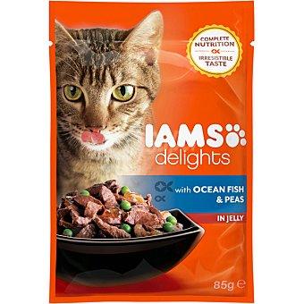 Iams delights Comida húmeda para gatos adultos Iams Delights pescado y guisantes en gelatina 85 gr 85 gr