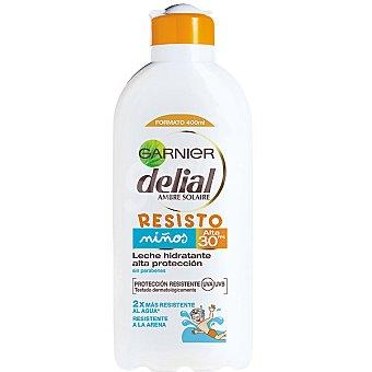 Delial Garnier Leche hidratante niños FP-30 resistente al agua frasco 400 ml con extracto de cactus + vitamina E Resisto Frasco 400 ml