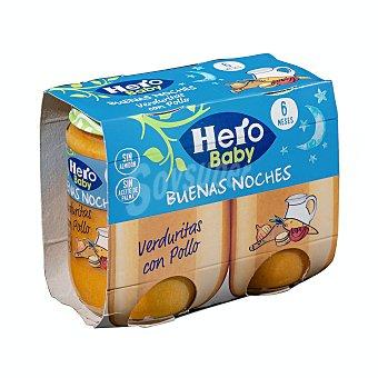 Hero Baby Buenas Noches Tarrito de pollo con verduritas, a partir de 6 meses Pack 2 tarros x 190 g