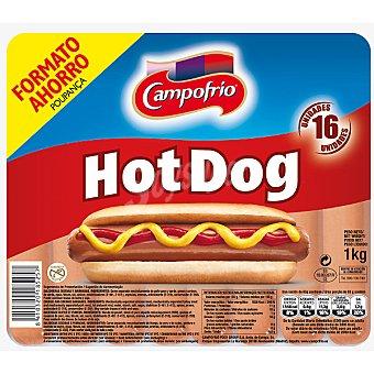 CAMPOFRIO Hot Dog Salchichas para bocadillo 16 unidades envase 1 kg 16 unidades