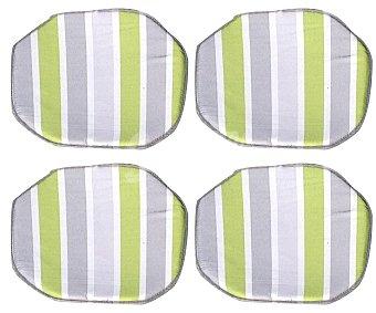 Productos Económicos Alcampo Cojínes para sillas con forma semicuadrada y de rayas verdes y grises 4 unidades