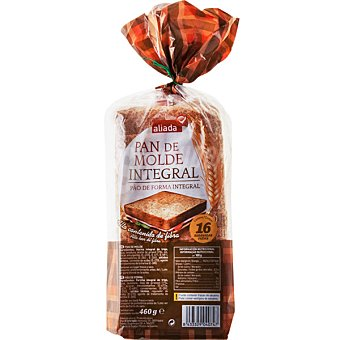 Aliada pan de molde integral con corteza 16 rebanadas Bolsa 460 g