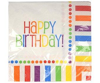 Unique Servilletas desechables Happy Birthday diseño arcoíris, 33x33cm 16 unidades