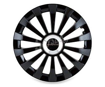 """GOODYEAR Juego de 4 tapacubos modelo Flexo 40 para ruedas de 15"""", de color negro y diseño robusto y plano con aspecto de llanta de aleación 1 unidad"""