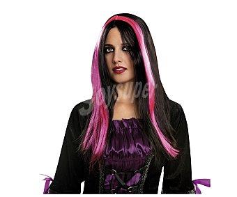 MY OTHER ME Complemento para disfraz Halloween, Pelucha de bruja negra con mechones rosas Peluca bruja