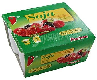 Auchan Yogur de soja con frutos rojos 4 unidades de 100 gramos