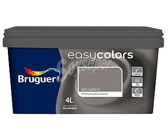 BRUGUER Pintura plástica acrílica decorativa, de color gris galena, de la serie Easy Colors 4 litros