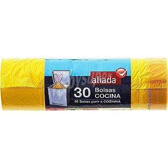 Aliada Bolsas de basura con autocierre amarilla 55x60 30L Paquete 30 bolsas
