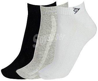 Dunlop Pack de 3 pares de calcetines Performance, color blanco/gris/negro, talla 39/42 color blanco/gris/negro, talla 39/42
